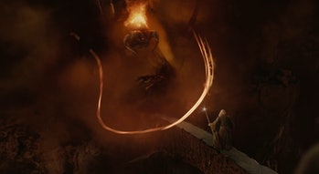 The Balrog and Gandalf in Lord of the Rings: Fellowship of the Ring