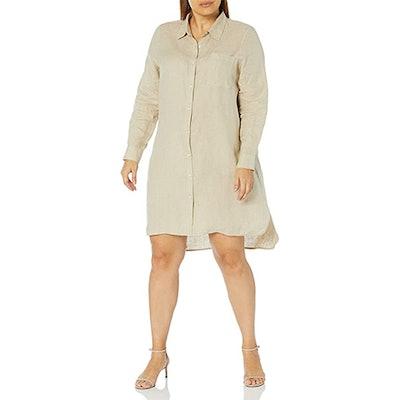 The Drop Celine Long-Sleeve Linen Shirt Dress