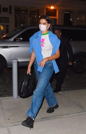 Dua Lipa seen after filming a music video in Manhattan on September 30, 2020 in New York City.