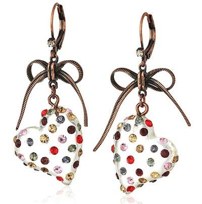 Multi Lucite Heart Drop Earrings