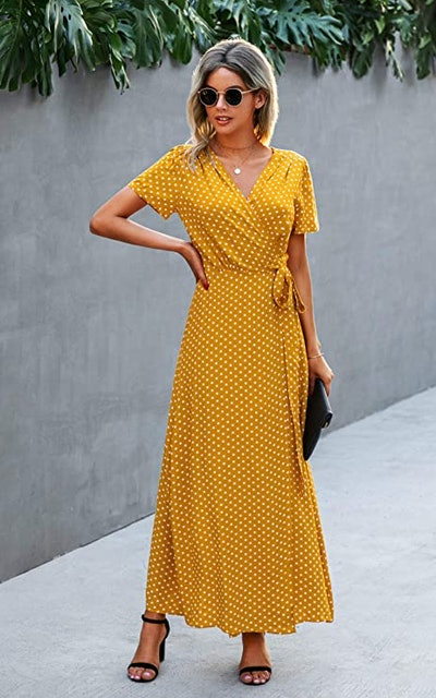 ECOWISH Short Sleeve Maxi Wrap Dress