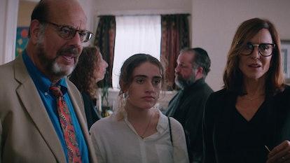 Fred Melamed as Joel, Rachel Sennott as Danielle, and Polly Draper as Debbie in Shiva Baby.