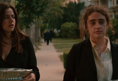 Molly Gordon as Maya and Rachel Sennott as Danielle in Shiva Baby.