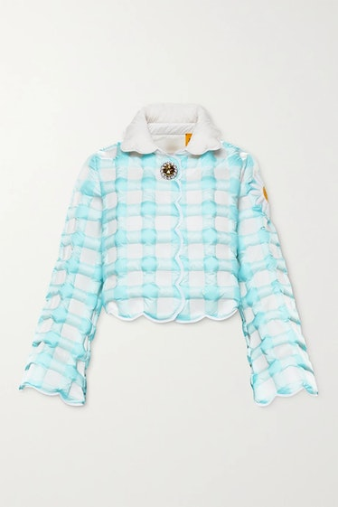Quinn Elke cropped checked quilted shell down jacket
