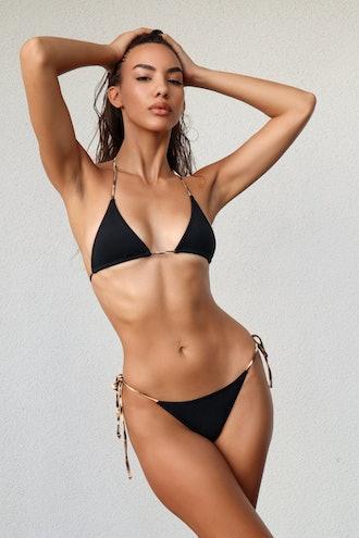 Lina String Bikini Top - Blackest Black