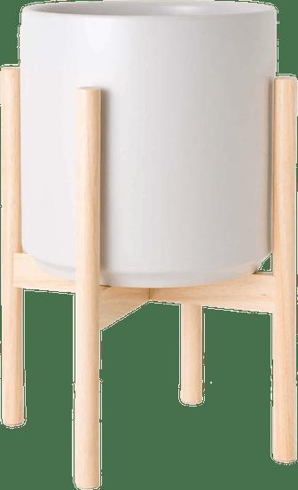 Classic Ceramic Planter + Wood Stand
