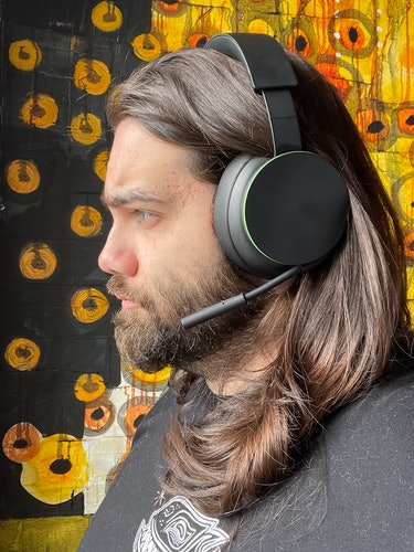 Wearing the Xbox Wireless Headset.