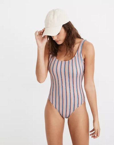 Second Wave Tank One-Piece Swimsuit in Paseo Stripe
