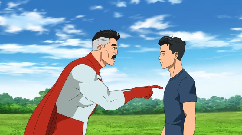 Mark Grayson, who's voiced by Steven Yeun, and his father in 'Invincible' via the Amazon press site