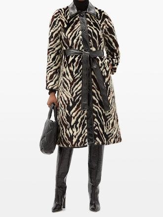 Aurora Belted Zebra-Print Faux-Fur Coat