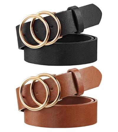 Syhood Women's Leather Belt (2-Pack)