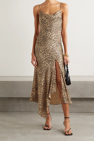 Harmony Draped Leopard-Print Satin-Twill And Voile Dress