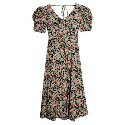 Grunge Floral Print Midi A-Line Dress