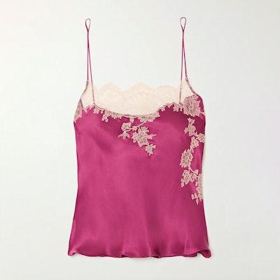 Carine Gilson Lace-trimmed silk-satin camisole