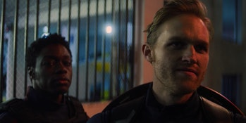 Cle Bennett as Lemar Hoskins and Wyatt Russell as John Walker in The Falcon and the Winter Soldier