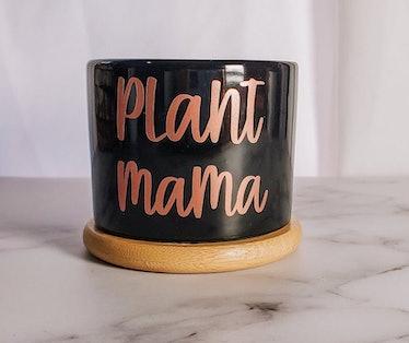 Plant Mama Ceramic Succulent Black Planter Pot