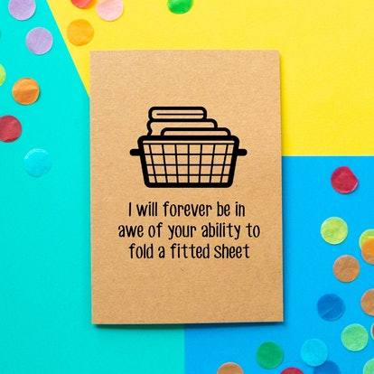 Funny Mothers Day Card: I will forever be in awe of your ability to fold a fitted sheet