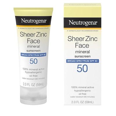 Neutrogena Sheer Zinc Face Mineral Sunscreen, SPF 50