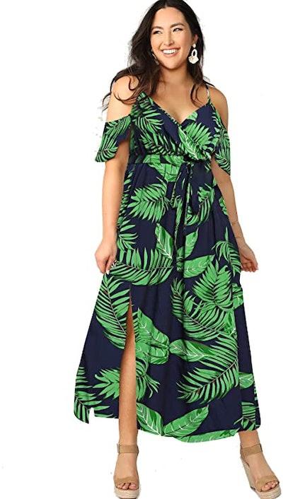 Milumia Plus Size Cold Shoulder Maxi Split Dress