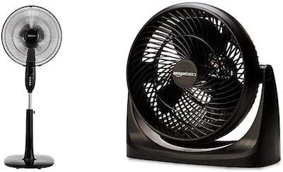 AmazonBasics Standing Pedestal Fan & Small-Room Air Circulator Fan