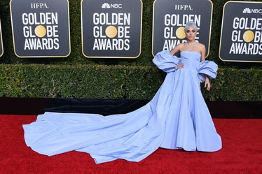 Lady Gaga Golden Globes Blue dress Blue Hair