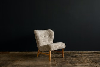 Erik Bertil Karlen Denmark, 1949 Lounge Chair in Beech Sheepskin