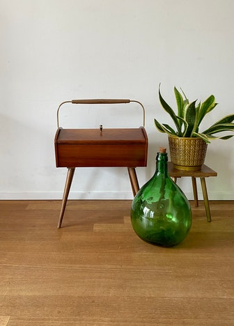 Mid Century 50s 60s Wooden Sewing Box