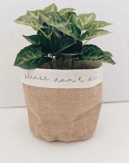 Please Don't Die Canvas Plant Pot