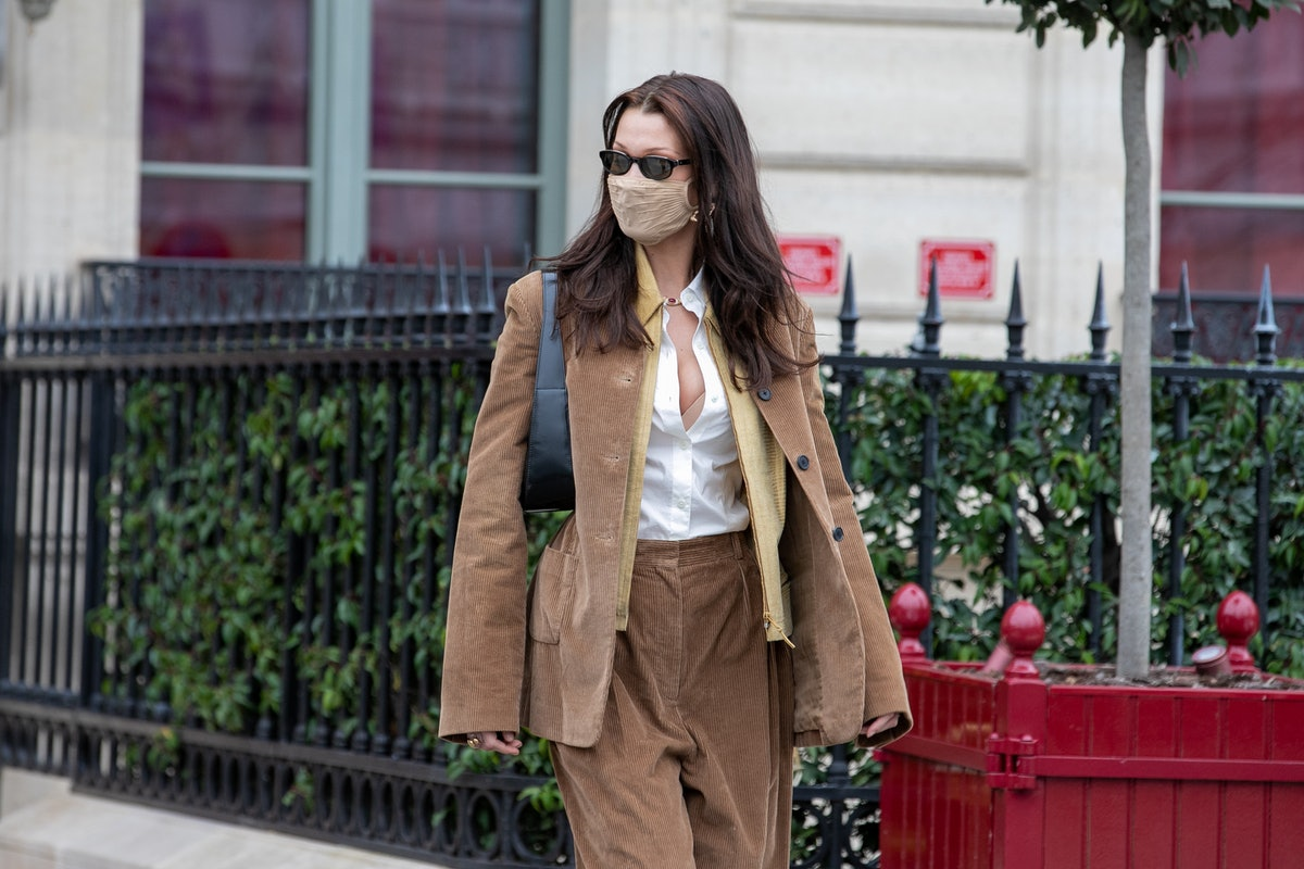 Bella Hadid in a brown suit