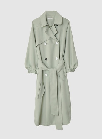 Drape Twill Trench Dress in Pistachio