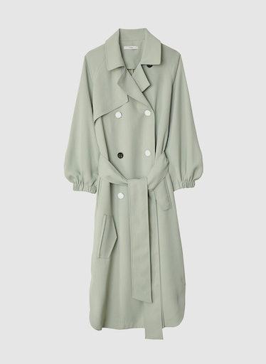 Drape Twill Trench Dress in Pistachio