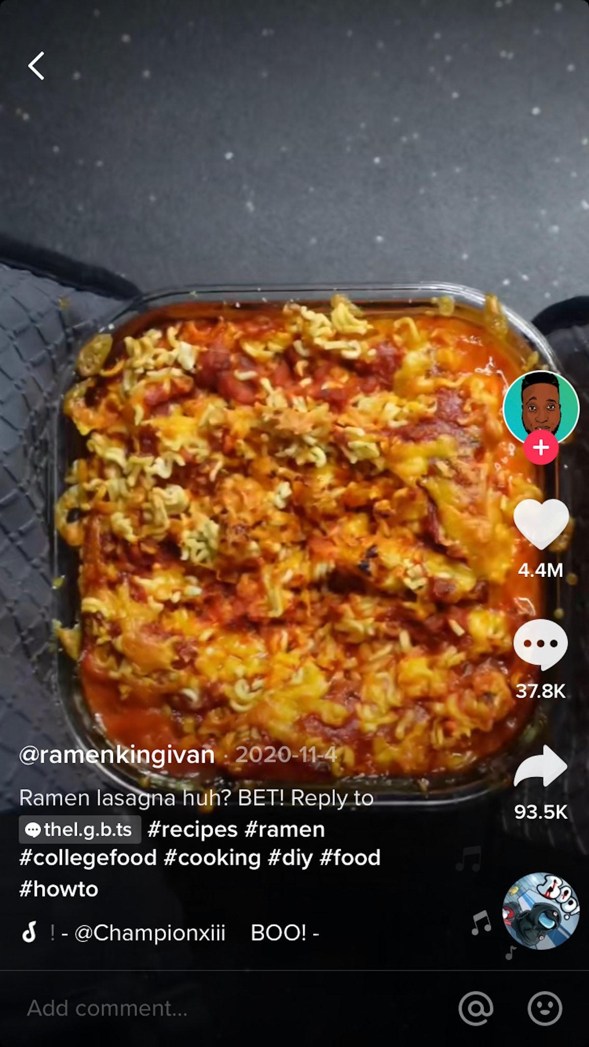 A TikTok recipe using ramen to make lasagna
