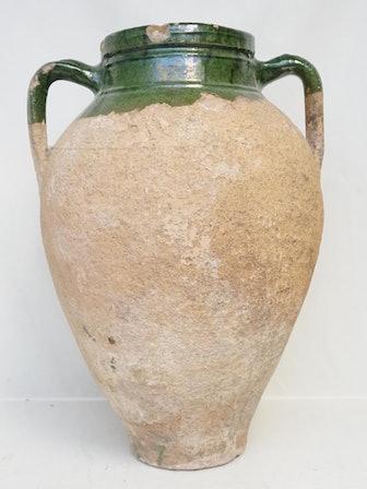 Large Turkish Terracotta Olive Jar Green Glazed