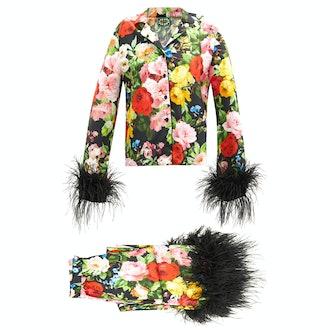 Richard Quinn Feather-trimmed floral-print silk pyjamas
