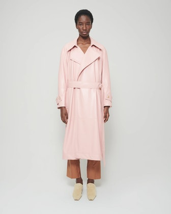 Amal Vegan Leather Coat in Pink