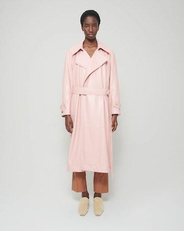 Amal Vegan Leather Coat in Pink