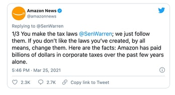 Amazon has clashed with legislators on Twitter over the taxes it pays and anti-unionization stance.