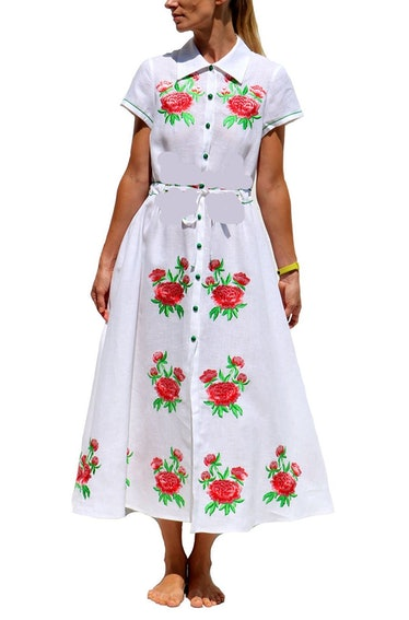 Junie Midi Dress White Linen with Red Rose Embroidery