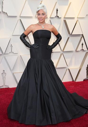 Lady Gaga at the Oscars in a black dress