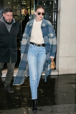PARIS, FRANCE - MARCH 01: Model Gigi Hadid is seen leaving the CHANEL office building on March 01, 2...