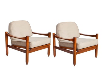 Michel Arnoult Mid-Century Jacaranda Arm Chairs