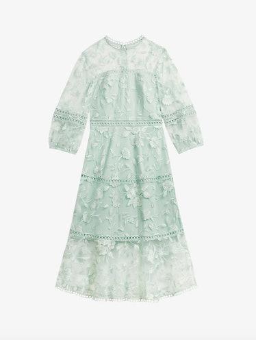 Tabii Floral-Embroidered Midi Dress
