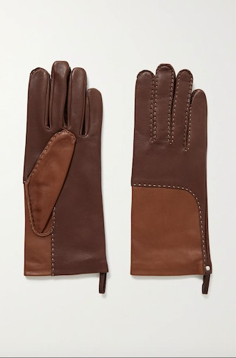 Yaelle Topstitched Two-Tone Leather Gloves