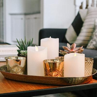 Sandstone & Sage Flameless Flickering Candles (3-Piece)