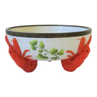 French Limoges Majolica Style Lobster Decorated Serving Bowl