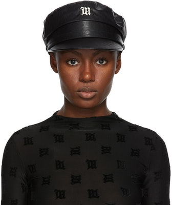 Black Faux-Leather Monogram Gavroche Hat