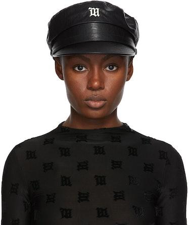 Black Faux-Leather Monogram Gavroche Hat