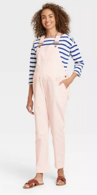 The Nines by HATCH™ Maternity Classic Cotton Twill Overalls Light Pink