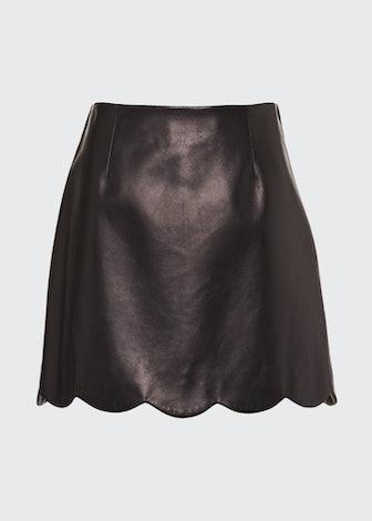Scallop-Hem Leather Miniskirt