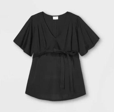 Maternity Short Sleeve Woven Blouse